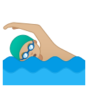 Android Pie; U+1F3CA U+1F3FC U+200D U+2642 U+FE0F; Emoji
