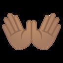 Android Pie; U+1F450 U+1F3FD; Emoji