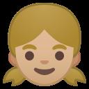 Android Pie; U+1F467 U+1F3FC; Emoji