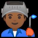 Android Pie; U+1F468 U+1F3FE U+200D U+1F3ED; Emoji