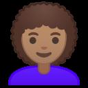 Android Pie; U+1F469 U+1F3FD U+200D U+1F9B1; Emoji