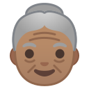 Android Pie; U+1F475 U+1F3FD; Emoji