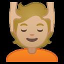 Android Pie; U+1F486 U+1F3FC; Emoji