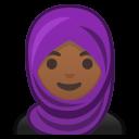 Android Pie; U+1F9D5 U+1F3FE; Emoji