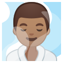 Android Pie; U+1F9D6 U+1F3FD U+200D U+2642 U+FE0F; Emoji