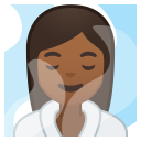 Android Pie; U+1F9D6 U+1F3FE U+200D U+2640 U+FE0F; Donna Alla Spa: Colore Pelle 5 Emoji