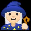 Android Pie; U+1F9D9 U+1F3FB U+200D U+2640 U+FE0F; Magicienne: Peau 1 Emoji