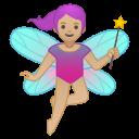 Android Pie; U+1F9DA U+1F3FC U+200D U+2640 U+FE0F; Femme Fée: Peau 2 Emoji