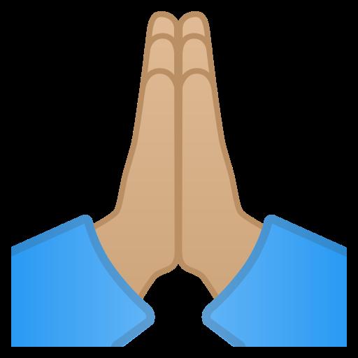 🙏🏼 Folded Hands: Medium-light Skin Tone Emoji