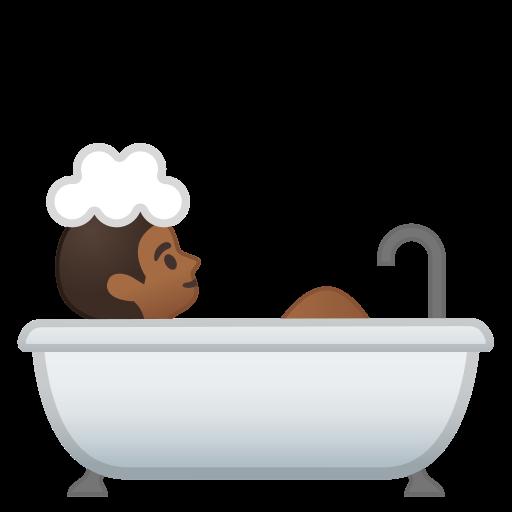 Persona che fa il bagno carnagione abbastanza scura emoji - Fare il bagno in inglese ...