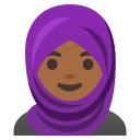 Google (Android 11); Mulher Com Lenço: Pele Escura Média