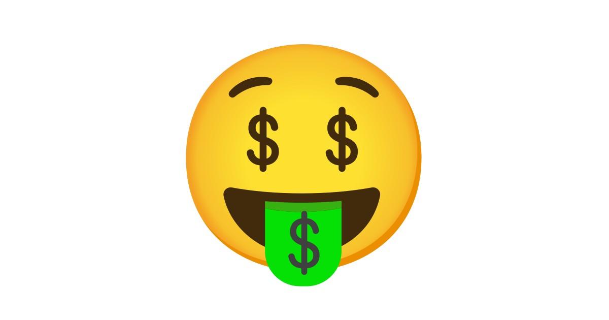 Argent Dans Les Yeux Et La Bouche Emoji