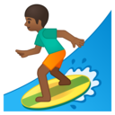 Emoji: 🏄🏾 Android Oreo; U+1F3C4 U+1F3FE