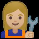 Emoji: 👩🏼🔧 Android Oreo; U+1F469 U+1F3FC U+200D U+1F527