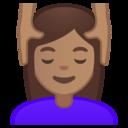 Emoji: 💆🏽 Android Oreo; U+1F486 U+1F3FD