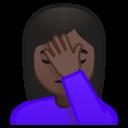 Emoji: 🤦🏿 Android Oreo; U+1F926 U+1F3FF