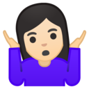 Emoji: 🤷🏻♀️ Android Oreo; U+1F937 U+1F3FB U+200D U+2640 U+FE0F
