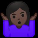 Emoji: 🤷🏿♀️ Android Oreo; U+1F937 U+1F3FF U+200D U+2640 U+FE0F