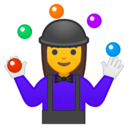 Android Oreo; U+1F939 U+200D U+2640 U+FE0F; Emoji