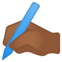 Emoji: ✍🏾 Android Oreo; U+270D U+1F3FE