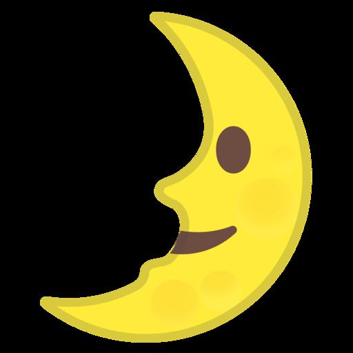 🌛 Luna De Cuarto Creciente Con Cara Emoji