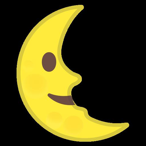 🌜 Luna De Cuarto Menguante Con Cara Emoji