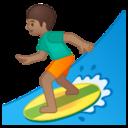 Android Pie; U+1F3C4 U+1F3FD; Emoji