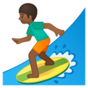 Android Pie; U+1F3C4 U+1F3FE; Emoji