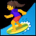 Android Pie; U+1F3C4 U+200D U+2640 U+FE0F; Emoji