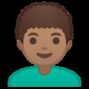 Android Pie; U+1F468 U+1F3FD U+200D U+1F9B1; Emoji