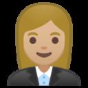 Android Pie; U+1F469 U+1F3FC U+200D U+1F4BC; Emoji