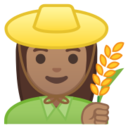 Android Pie; U+1F469 U+1F3FD U+200D U+1F33E; Emoji