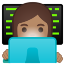 Android Pie; U+1F469 U+1F3FD U+200D U+1F4BB; Emoji