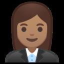 Android Pie; U+1F469 U+1F3FD U+200D U+1F4BC; Emoji