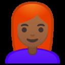 Android Pie; U+1F469 U+1F3FE U+200D U+1F9B0; Emoji