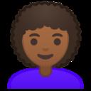 Android Pie; U+1F469 U+1F3FE U+200D U+1F9B1; Emoji