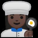 Android Pie; U+1F469 U+1F3FF U+200D U+1F373; Emoji