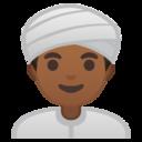 Android Pie; U+1F473 U+1F3FE; Emoji