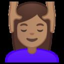 Android Pie; U+1F486 U+1F3FD U+200D U+2640 U+FE0F; Emoji