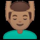 Android Pie; U+1F486 U+1F3FD U+200D U+2642 U+FE0F; Emoji