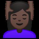 Android Pie; U+1F486 U+1F3FF U+200D U+2640 U+FE0F; Emoji