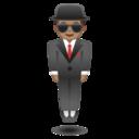 Android Pie; U+1F574 U+1F3FD; Emoji