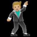 Android Pie; U+1F57A U+1F3FC; Emoji