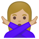 Android Pie; U+1F645 U+1F3FC U+200D U+2640 U+FE0F; Emoji
