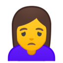 Android Pie; U+1F64D; Emoji