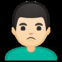 Android Pie; U+1F64E U+1F3FB U+200D U+2642 U+FE0F; Emoji