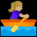 Android Pie; U+1F6A3 U+1F3FC U+200D U+2640 U+FE0F; Emoji