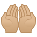 Android Pie; U+1F932 U+1F3FC; Mani Con Il Palmo Aperto Verso L'alto: Colore Pelle 3 Emoji