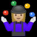 Android Pie; U+1F939 U+1F3FC U+200D U+2640 U+FE0F; Emoji