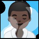 Android Pie; U+1F9D6 U+1F3FF U+200D U+2642 U+FE0F; Homem No Banho De Vapor: Pele Escura Emoji